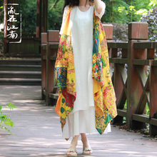 Folk style women s color dyeing cardigan air conditioner blouse spring cape cloak scarf shawls tippet