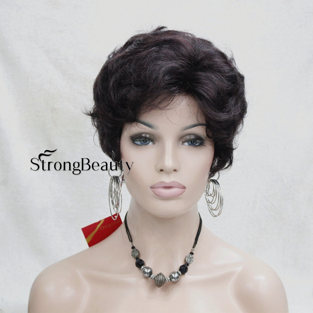 Synthetic Perruque Short Curly Pixie Cut Wigs With Bangs For African American Old Women Natural Blonde Brown Wig