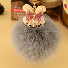key ring fashion flufy fox hair ball holder rabbit model women bag charms pendant furry chains best birthdays gift