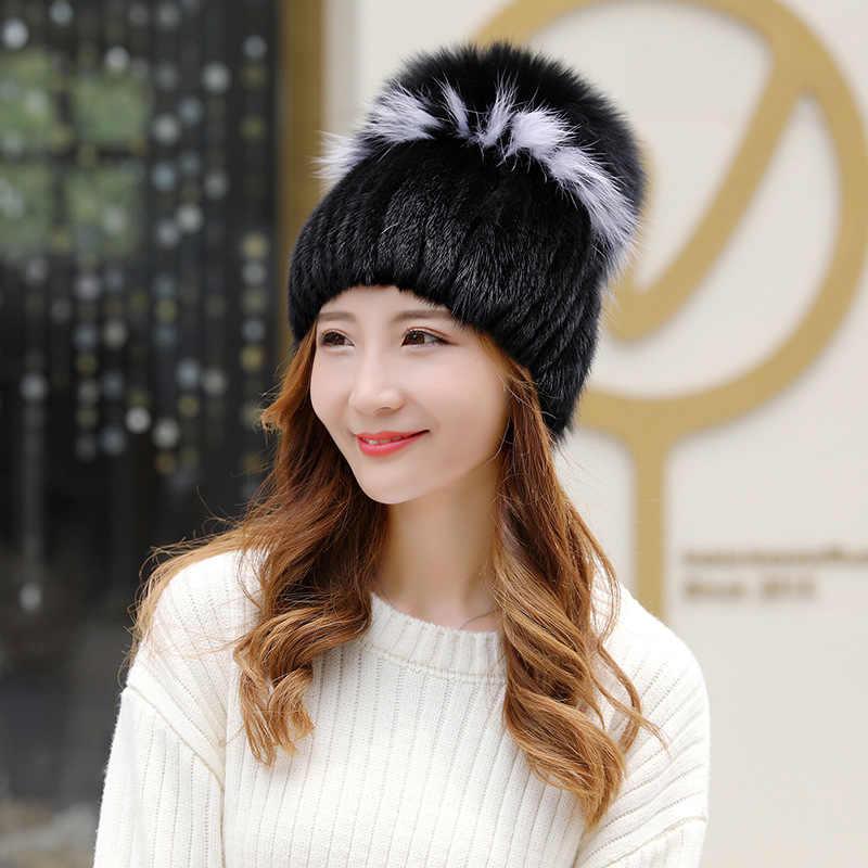 d67a65c9b9a ... Women s knitted Mink Fur Hat female styles fur Hat with fox fur Women Winter  warm hat ...