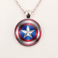 Captain America Batman Pendant Necklace For Women Men Silver Chain Vintage Choker Statement Iron Man Arc Reactor Necklace