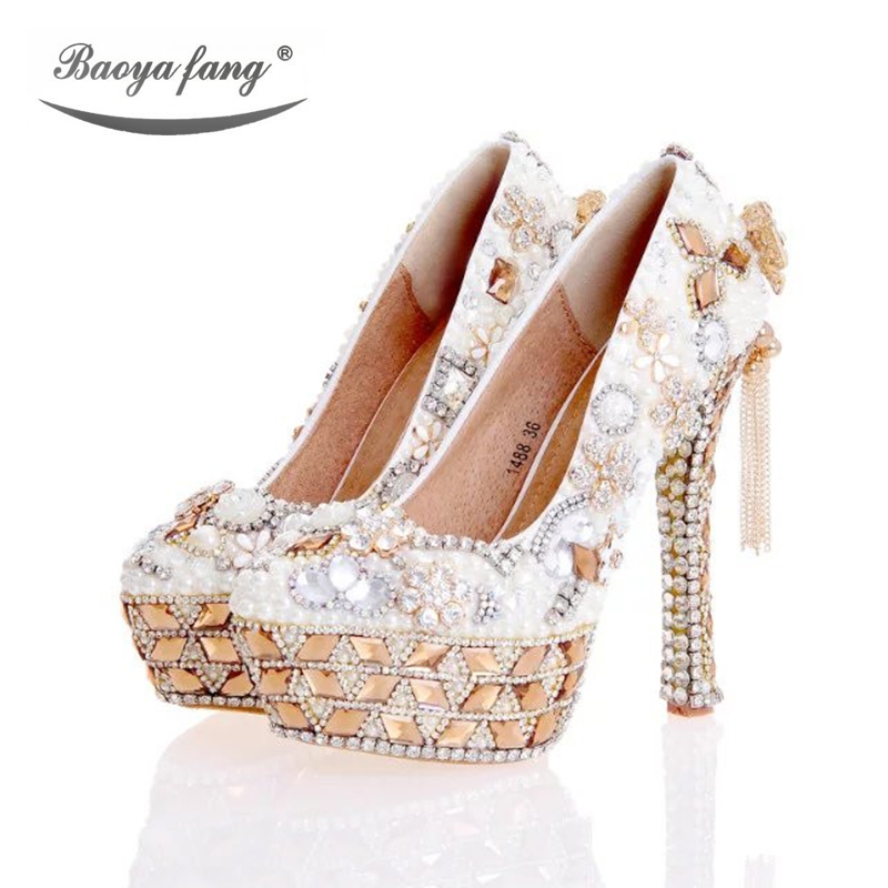 Luxury Crystal Women Wedding shoes party dress shoes High heel platform shoes Champagne crystal Tassel Chain Female shoes