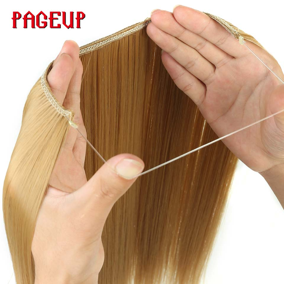 Pageup Hair-Extensions Synthetic-Hair-Pieces Fish-Line Blonde Invisible Long Women