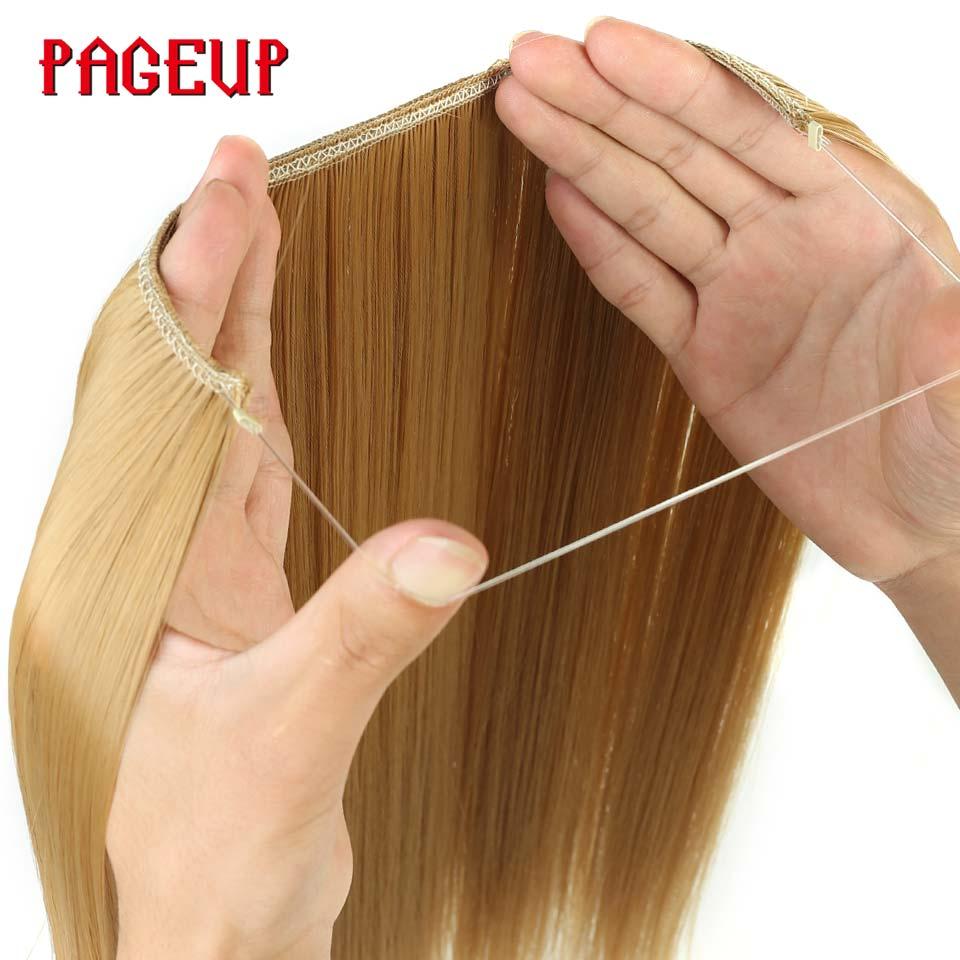 Pageup uma peça longa loira extensões de cabelo sintético invisível peças de cabelo para mulheres peixe linha invisível extensão do cabelo