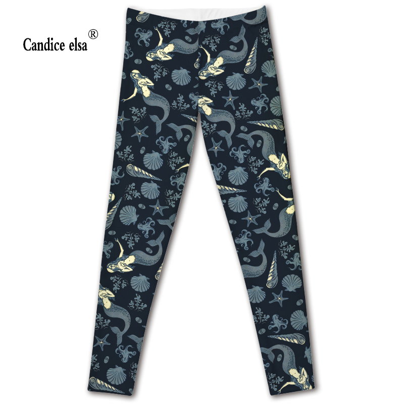 CANDICE ELSA leggings women workout female pants elastic fitness legging mermaid printed trousers plus size drop shipping