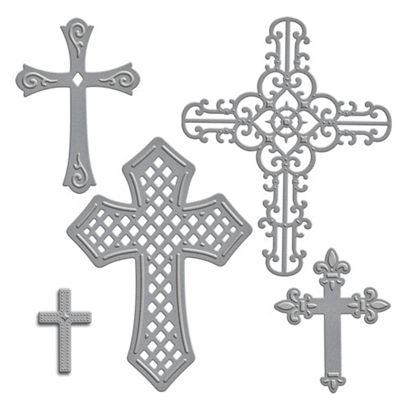 5 PCS Christian Devout Cross Metal Cutting Dies Stencils For DIY Scrapbooking Photo Album Decorative Embossing DIY Paper Cards in Cutting Dies from Home Garden