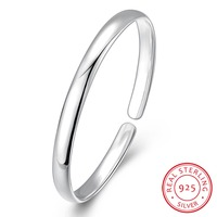 Hot Sales Simple Design 100 Real 925 Sterling Silver 6MM Wide Bangles Women S Fashion Jewelry
