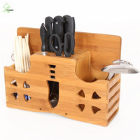 YI HONG Multifunction Bamboo Knife Rack Chopping Blocks Fork Kitchen Knife Block Stand Wood Knife Holder Creative