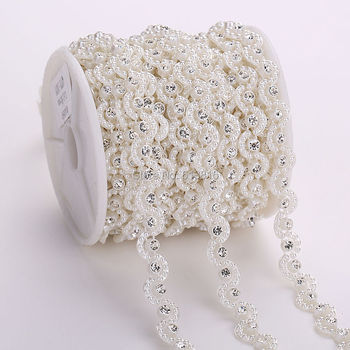 27356ab422 Free shipping 10Yards costume applique 10mm wave shape pearl
