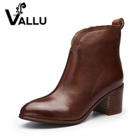 VALLU 2017 Handmade Women Shoes Ankle Boots High Heels High Qualiy Zip Genuine Leather Ladies Boots
