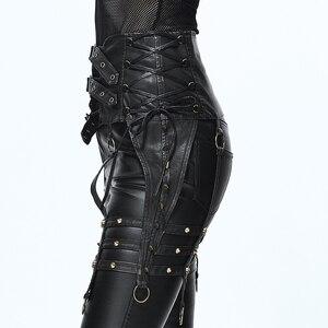 Image 4 - Ağır Punk kemer kişilik perçin pantolon seti bel kadın PU kemer aksesuarları için benzersiz tasarım siyah ince toka kemer kadın moda