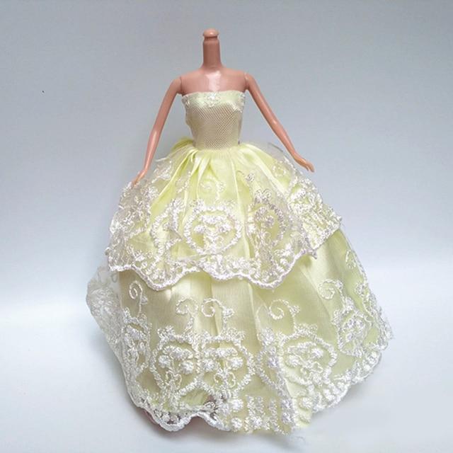 43526b28c5 5 unids muñeca vestido de boda bowknot Encaje partido ropa para Barbie 15  pulgadas