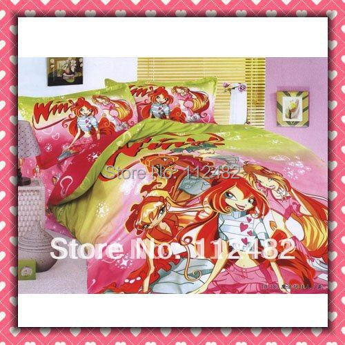 Free Shipping Winx Club  Reactive dyes printed 4pcs Bedding Cotton Bedding Set Children's