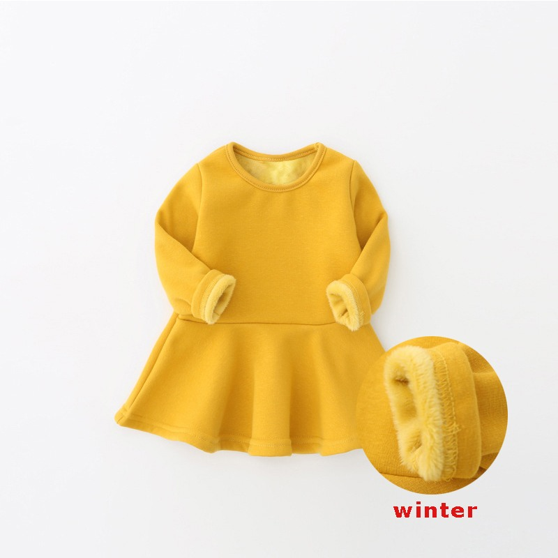 Winter baby dress plus velvet 7colors newborns infant baby clothing soft cotton costume 0-3Years birthday dress baby girls dress