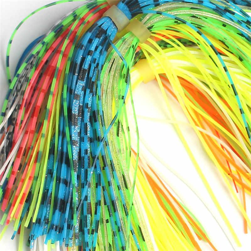 2019 nuevos colores calientes al azar línea de pescado señuelo agua faldas pelo ranas silicona pegamento vestido colorido líneas de pesca