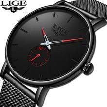 Image of LIGE2019 Fashion Mens Watches Top Brand Luxury Quartz Watch Men Casual Black Mesh Steel Waterproof Sport Watch Relogio Masculino