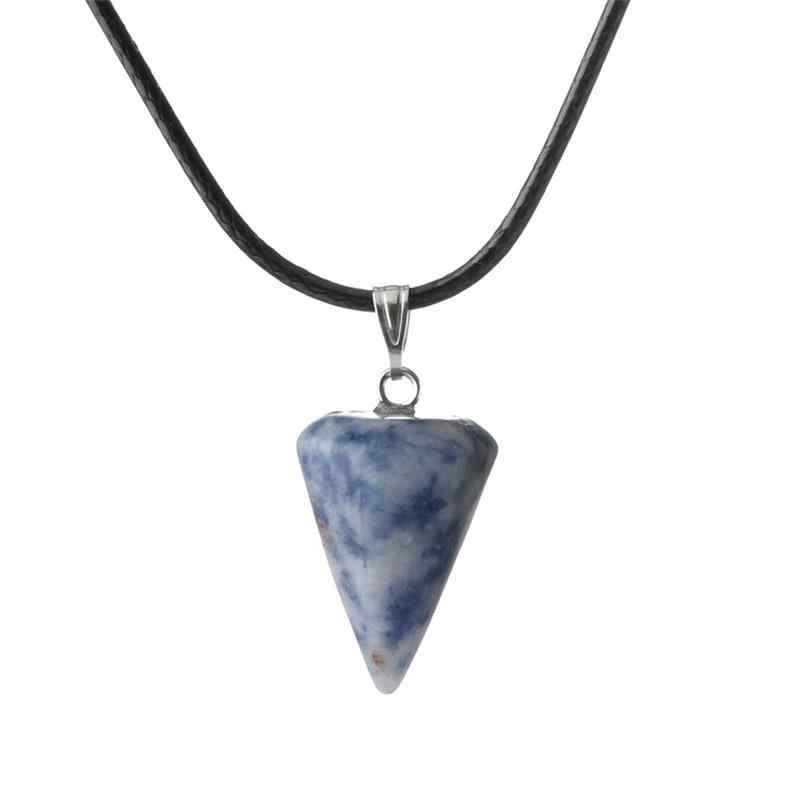 Meajo Trendy naturalna kryształowa piramida kwarc wisiorek naszyjnik z amuletem skórzany łańcuszek wisiorki naszyjniki biżuteria dla kobiet prezent