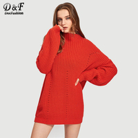 Dotfashion Red Exaggerate Long Sleeve Eyelet Detail Jumper Winter Women Sweaters And Pullovers Stand Collar Long Sweater