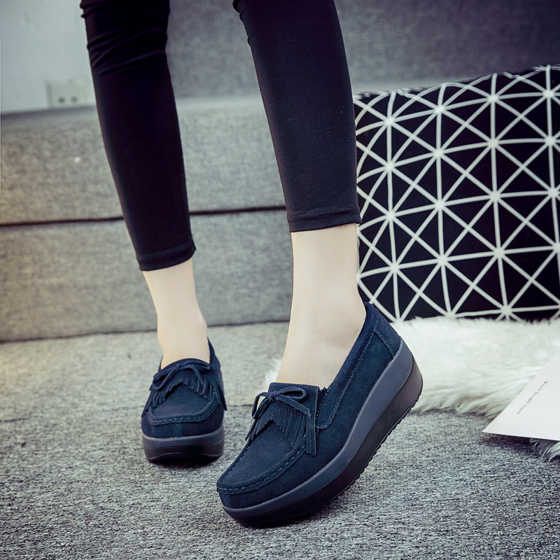 2019 Spring flat Shoes Women Platform Sneakers women Moccasins Shoes   Leather   Slip On Flats Casual Ladies Loafers Tassel Creeper