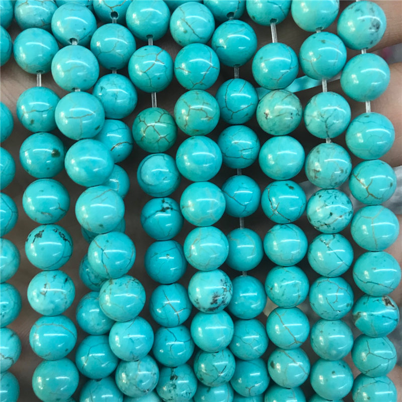 Fine Jewelry Lower Price with Optimized Light Blue Turquoise Stone Beads Round Loose Gemstone Bead 6/8/10mm For Bracelet And Necklace Jewelry Craft Material Careful Calculation And Strict Budgeting