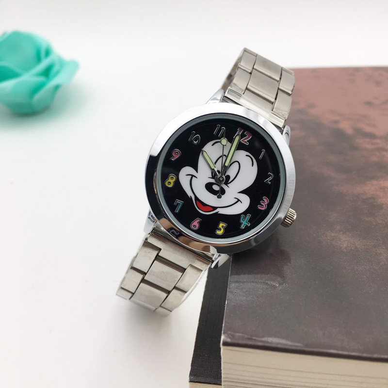 Mickey mouse Watch ladies Stainless Steel Women Watches Cartoon Mouse Clock students kids Sports Quartz Wristwatches wholesale high quality (3)