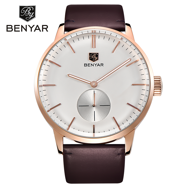 BENYAR Original Gold Watch Men Watches Top Brand Luxury Leather Business Quartz Wrist Watch Male Clock Saat Relogio Masculino benyar original gold watch men watches top brand luxury leather business quartz wrist watch male clock saat relogio masculino