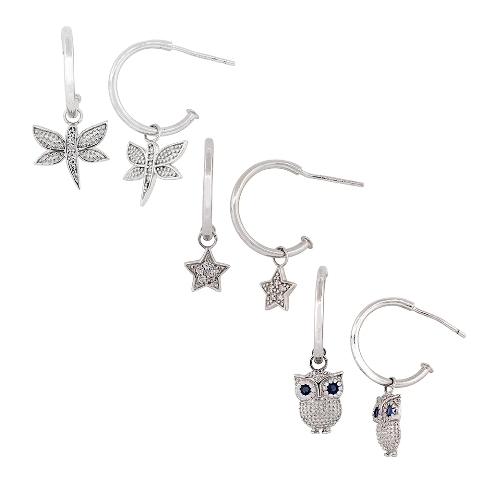 Helen Andrews Cubic Zirconia Sterling Silver Platinum-Plated Owl Star and Dragonfly Enhancers .75 in. Hoop Earrings dragonfly in amber