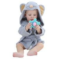 Brand Designer Soft Flannel Kids Bathrobe Kawaii Boy Girls Pajamas Cute Warm Animal Children S Hooded