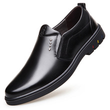 Luxury breathable wear-resistant brand-name mens shoes leather England negative business casual soft bottom men