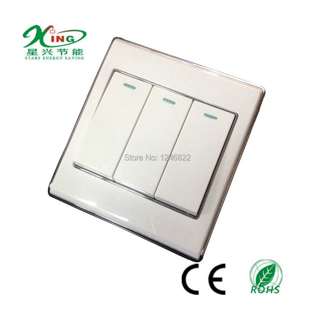 smart house switch 3 gang 2 way electrical switch 10A 86*86MM switch ...