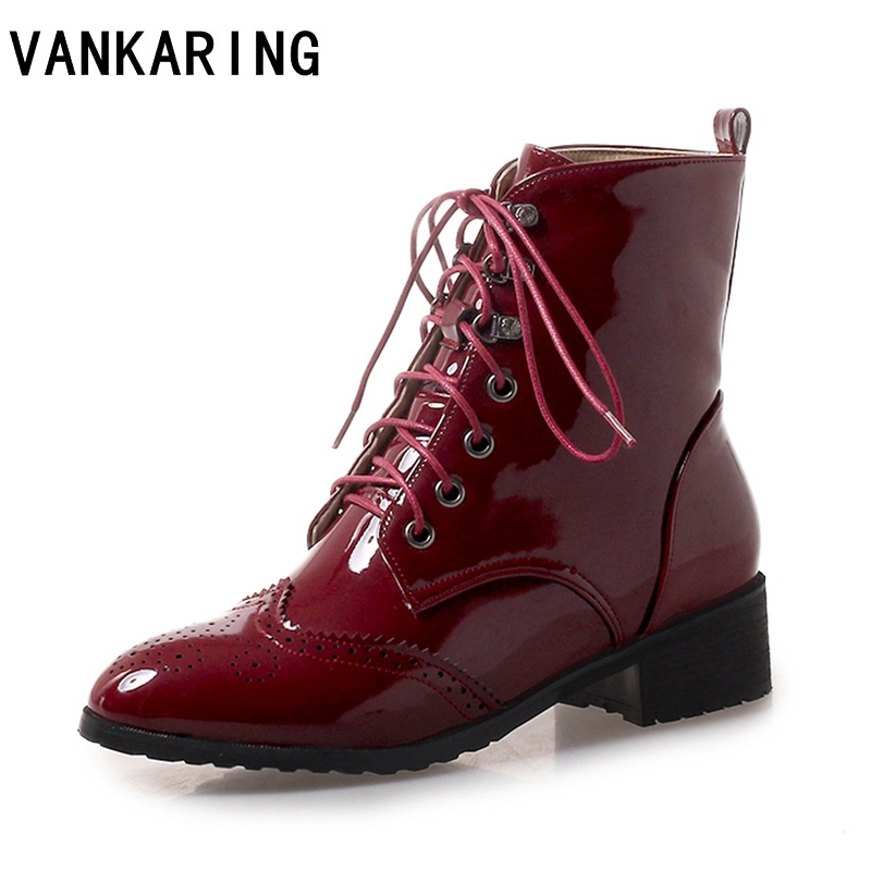 VANKARING Patent leather ankle boots for women high heel autumn winter boots women ladies shoes woman riding platform snow boots стоимость