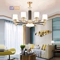 led e14 Modern Iron Glass Crystal Black Gold Chandelier Lighting Lamparas De Techo Suspension Luminaire Lampen For Bedroom