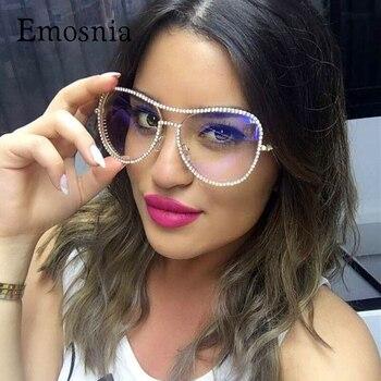 Emosnia 2017 יוקרה משקפי שמש נשים דקורטיבי ריינסטון מותג מעצב נחושת מסגרת מראה עדשת כפול גשר שמש משקפיים