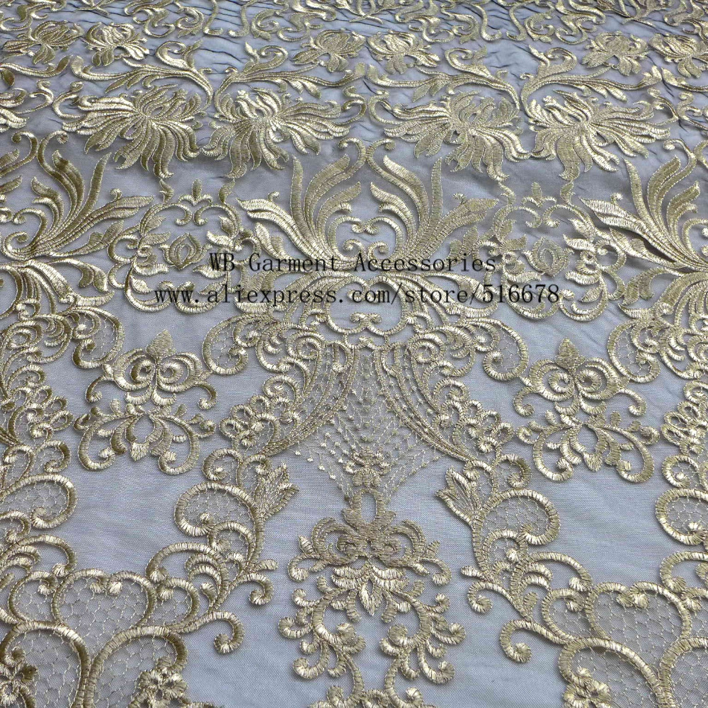 New fashion style high grade beige off white gold black background large pattern embroidery wedding dress