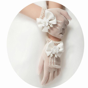 1 Pair Girls Kids White Lace Faux Pearl Fishnet Gloves Communion Flower Girl Bride Party Ceremony Accessories(China)