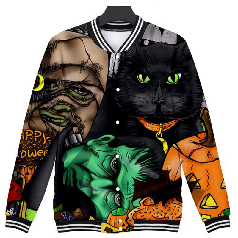 Halloween Costumes Skull Skeleton 3D Printed Zip Up Baseball Jackets Fashion Coats Men and Women Bomber Jacket Funny Clothing