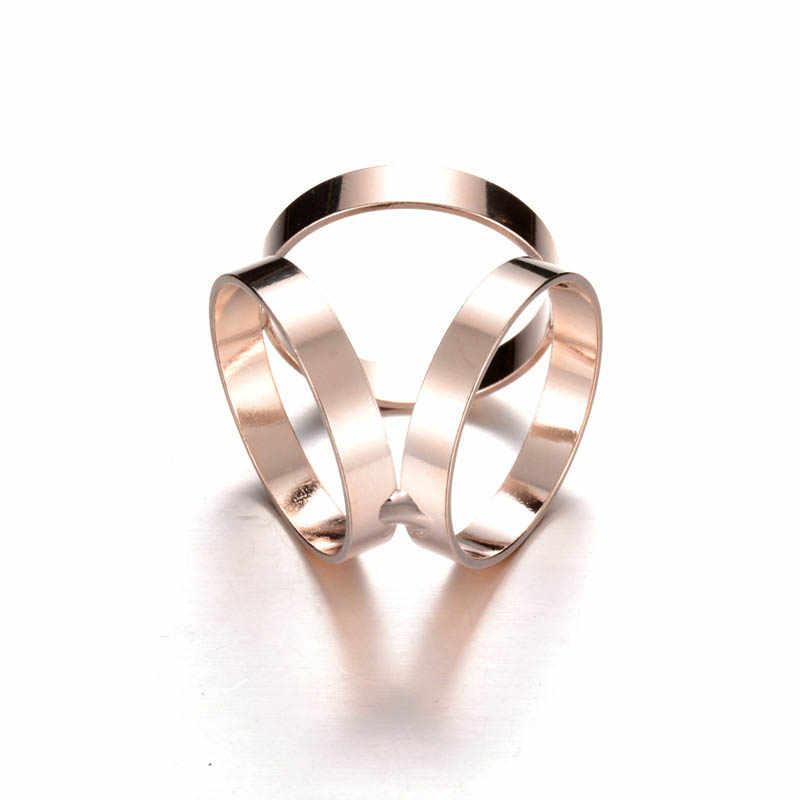 BONJEAN 2019 New Metal Lenço/Xaile Acessórios Três-Anel Lenço De Seda Na Moda Liga de Prata de Ouro de Luxo Da Marca Mulheres acessórios