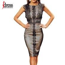 1ffc75defec924f IDress Новинка 2019 года пикантные женское платье элегантный по колено  Bodycon миди платье без рукавов вечерние Ночная дешевая о.