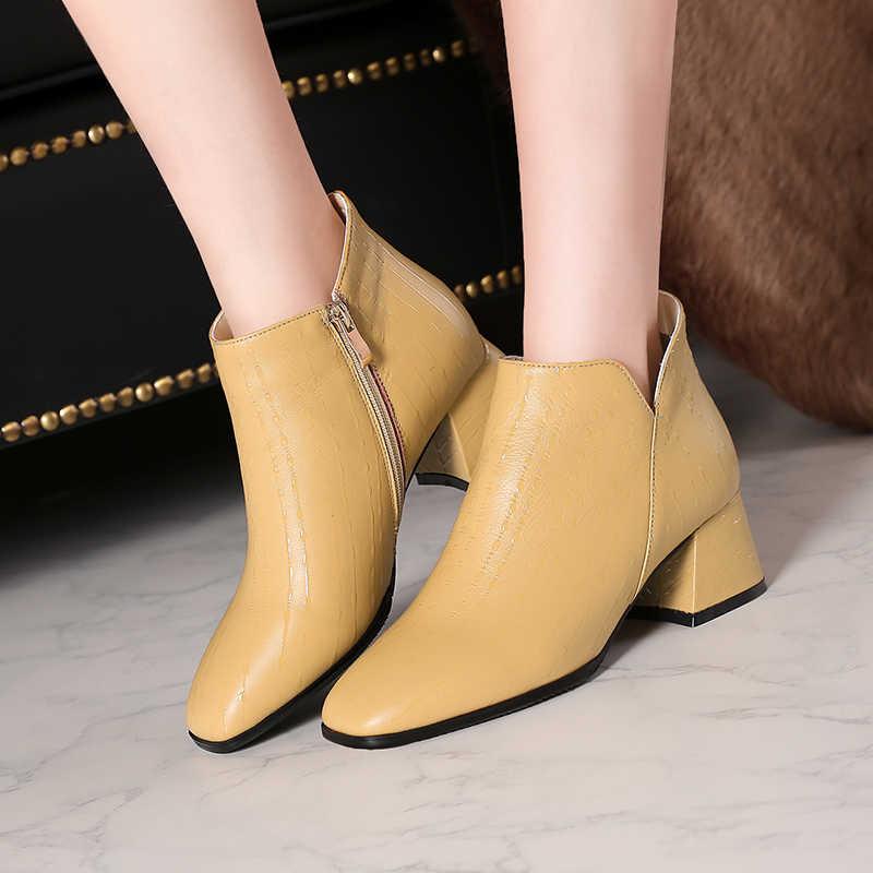 ISNOM Große Größe 32-45 Kuh Leder Frauen Stiefeletten Druck Zip Kurze Plüsch Boot Karree Damen Schuhe high Heels Schuhe