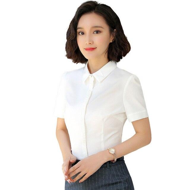 Fmasuth Summer Womens Clothing Short Sleeve Formal Blouse 3XL Plus Size  White Shirt Women Office Blouses Top Blue 122YAN336S01 8208174d70a0