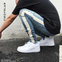 2019 neue kanye weist schwarz Dünne Jeans Männer Hip Hop streifen Zerrissene Elastische Slim Fit Jeans Männlichen Stretchy Hosen straße hosen