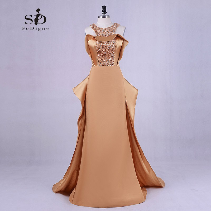 Elegant evening dress mermaid champagne formal gown court for Dresses for 50th wedding anniversary party