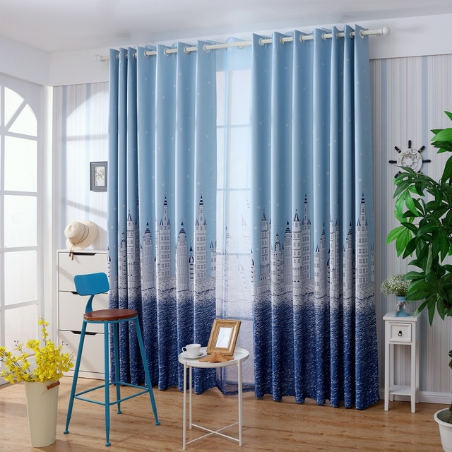 Finestra tende per camera da letto poliestere tende oscuranti per soggiorno bambini camera blu - Tende per letto a castello ...