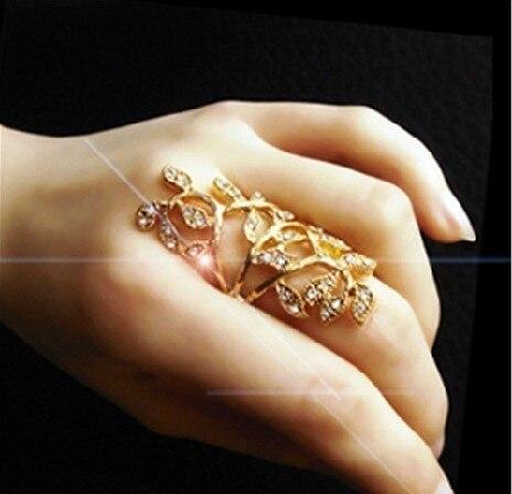 Sunshine fashion luxury rhinestone golden leaves ring