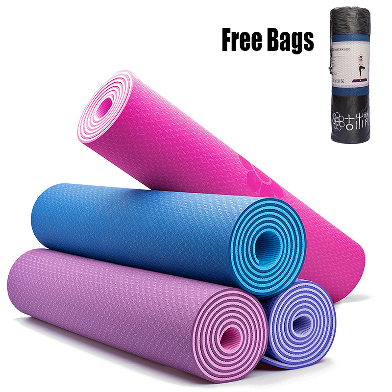 TPE Yoga Mats Extra Thick Non-slip Foam Free bags For Fitness Tasteless Pilates Gym Exercise Pads with Yoga Strap 183cmX61cm