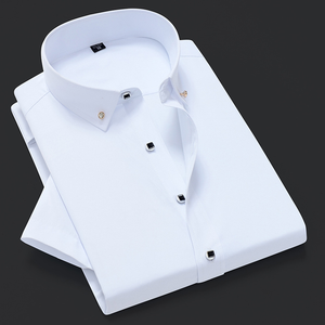 Casual Shirt Short-Sleeve Diamond-Button Slim-Fit Color Camisa Masculina Quality Brand-New