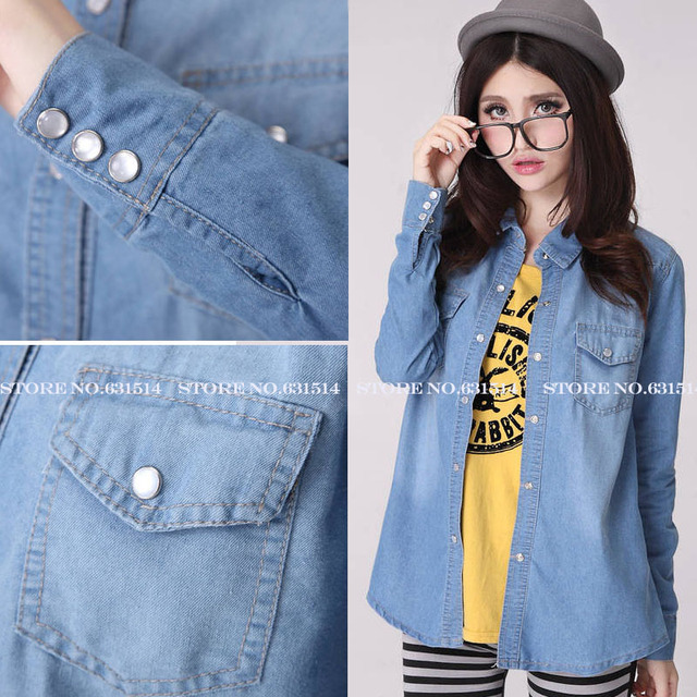 New S,M,L Blue 2013 Summer Women's Blouse Pearl Button Pockets Casual Camisa Lapel Blusas long sleeve female denim shirt Top