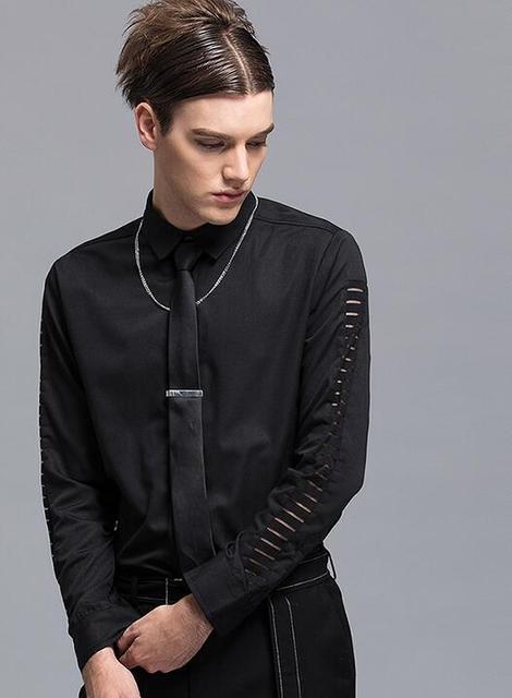 molto carino 169f2 d9264 US $51.45  M XL!!! 2018 abbigliamento uomo camicia a maniche lunghe sottile  maschio moda pura del fiammifero del colorante tendenza personalità Il ...