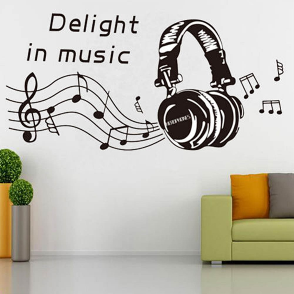 Delight in music notes play write wall sticker removable for Stickers decorativos