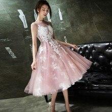 Scoop по колено короткие вечерние платья розовый органза цвета слоновой кости, с кружевными аппликациями, коктейльное платье для выпускного вечера по низкой цене со скидкой; TB1626